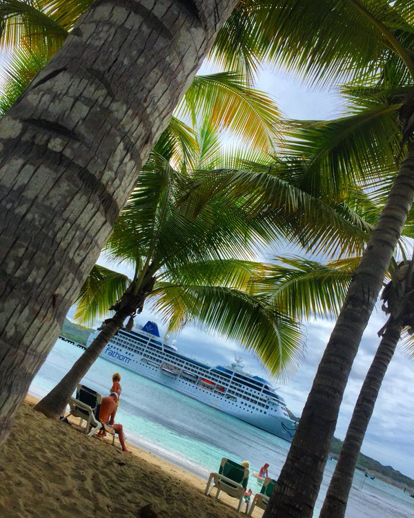 Fathom travel, view of the Adonia ship from the beach, Amber Cove