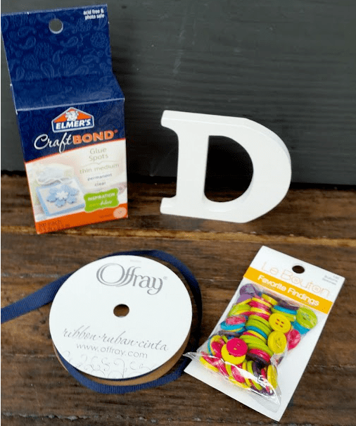 Mother's Day Button Initial Craft supplies