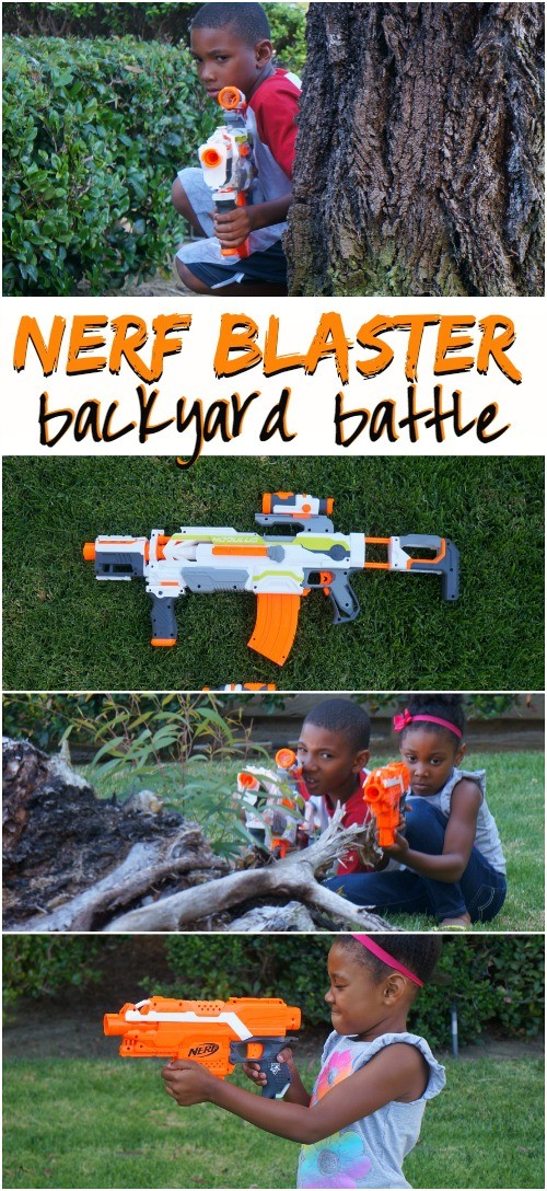 Summer Outdoor Activities - have a backyard battle with NERF N-Strike dart blasters! What fun ideas for summer adventures!