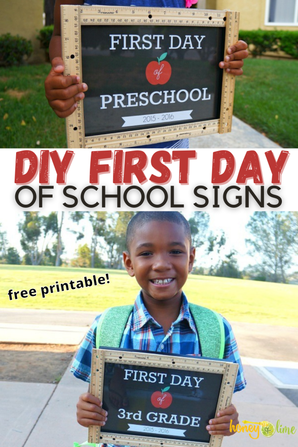 First Day of School Signs for preschool through 12th grade