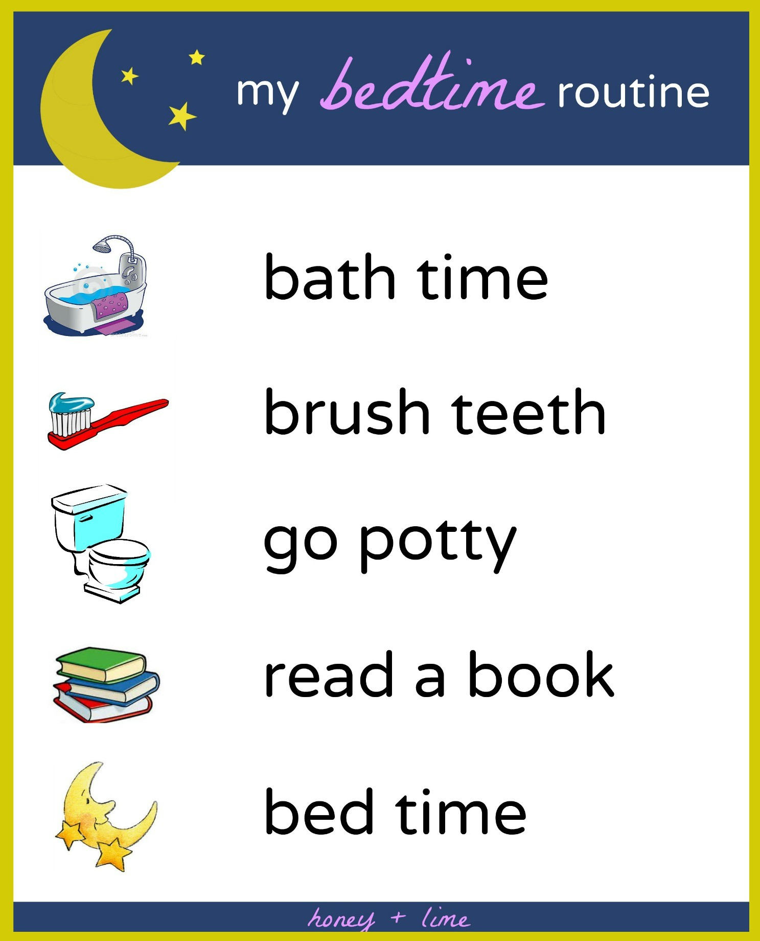Brush Book Bed A Printable Bedtime Routine Chart For Kids