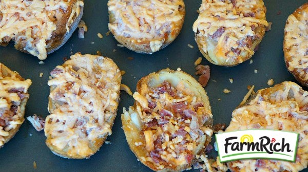 Making loaded bbq chicken potato skins with Farm Rich bacon and cheese potato skins