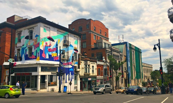 Montreal, Quebec - Montreal street art on buildings on Saint Laurent