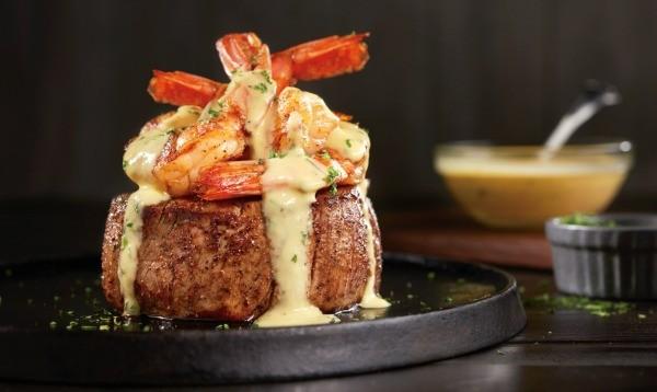 Big Australia Menu at Outback Steakhouse - Bearnaise jumbo shrimp topped Filet
