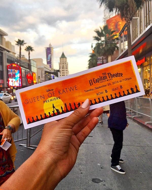 Disney's Queen of Katwe U.S. movie premiere ticket