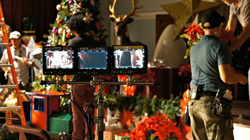 On the set of ABC's American Housewife tv show, monitors to watch during filming