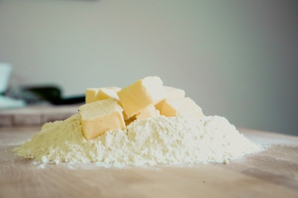 Baking ingredients, flour and butter