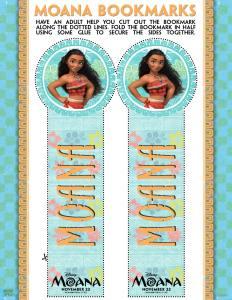 Disney's Moana printable bookmarks