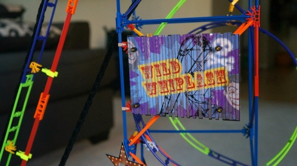 K'NEX Wild Whiplash Roller Coaster sign and details