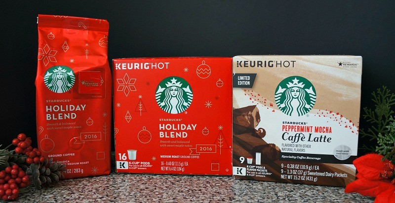 Starbucks Holiday ground coffee and K-cup pods, and Starbucks Peppermint Mocha caffe latte