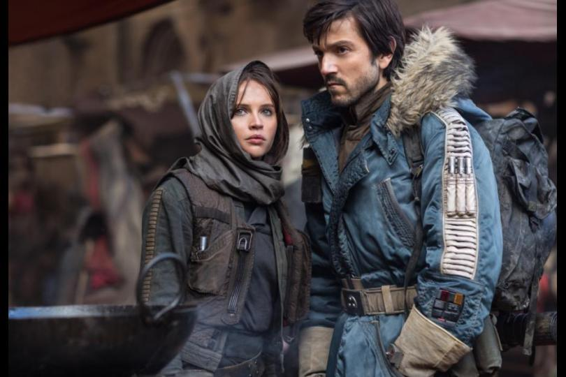 Felicity Jones as Jyn and Diego Luna as Cassian in Rogue One Star Wars movie
