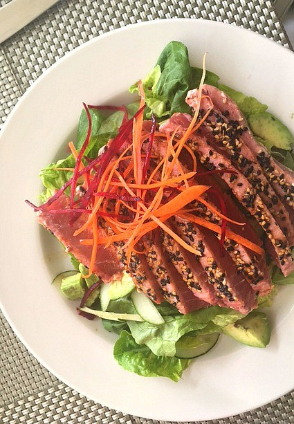 Amazing ahi tuna salad at Mosaic restaurant, Costa Baja Resort in La Paz