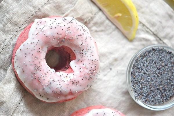 Delicious homemade glazed lemon poppy seed donuts