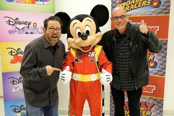 Producers Rob Laduca and Mark Seidenberg with Mickey at Mickey and the Roadster Racers screening at The Walt Disney Family Museum in San Francisco, CA, 12-5-16