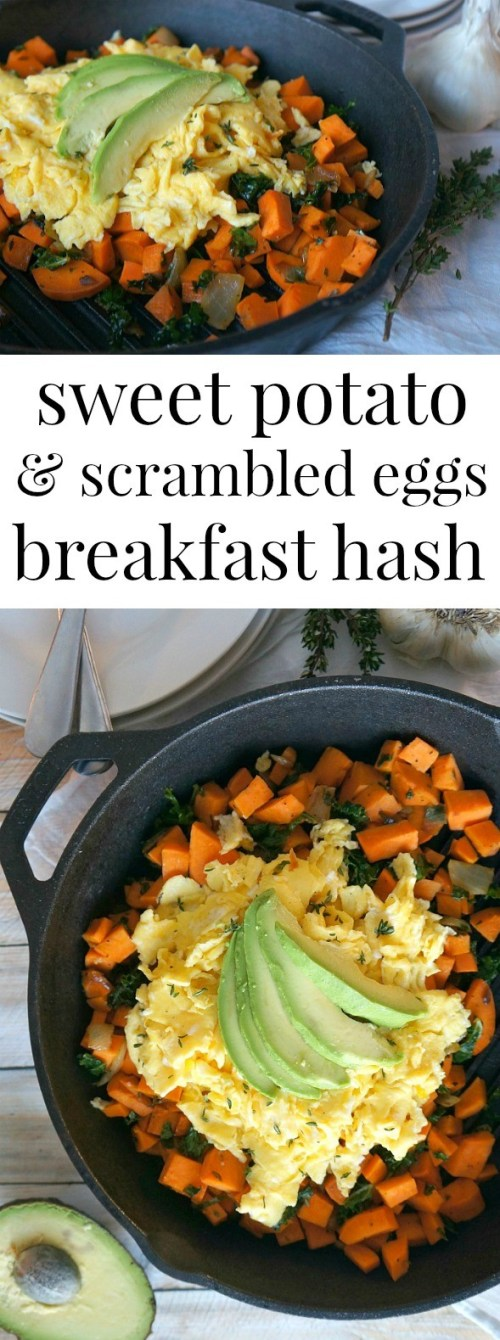 Thyme Sweet Potato and Scrambled Eggs Hash Recipe - this breakfast skillet is Paleo friendly, a good way to start your morning with a healthy protein meal!