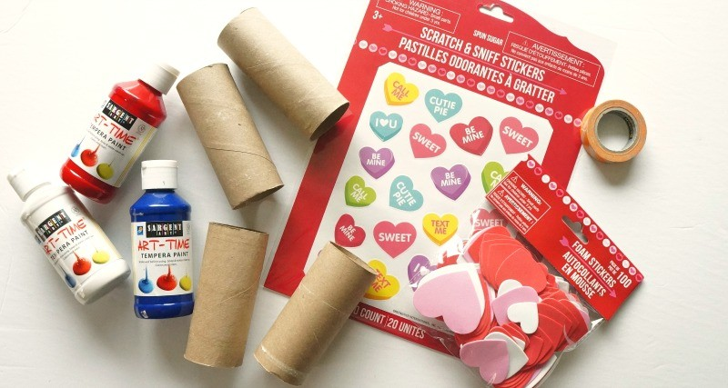 Materials for Valentine's Day toilet paper roll gift box craft