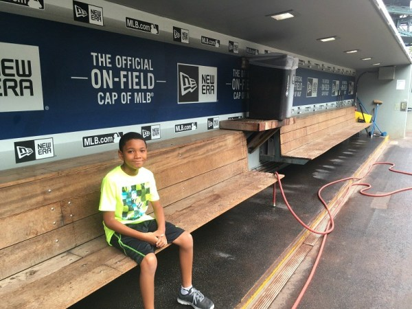 In the dugout at Safeco Field, Seattle Mariners