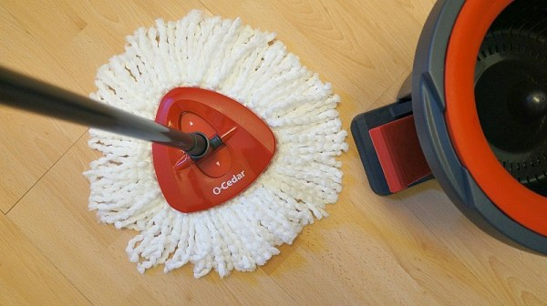 O-Cedar EasyWring™ Spin Mop & Bucket System, the triangular mop head is washable