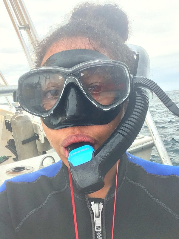 Snorkeling in La Paz, Mexico, wet suit and snorkel mask ready