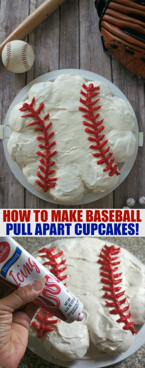 Baseball Cupcake Ideas - Make This Super Fun Pull Apart Baseball Cupcake Cake, perfect for baseball birthday parties, team parties and events | cupcake baseball cake | baseball cupcakes cake