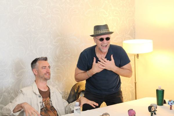 Sean Gunn and Michael Rooker at Marvels Guardians of the Galaxy vol 2 press day, The London Hotel, Los Angeles, CA