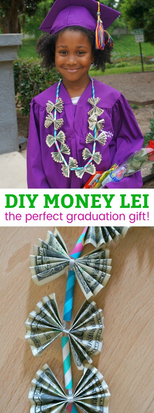 DIY Graduation Gifts- Learn How To Make A Money Lei Tutorial. This is one of our favorite creative ways to gift money! how to make a money lei | diy money lei | ribbon money lei tutorial | honeyandlime.co
