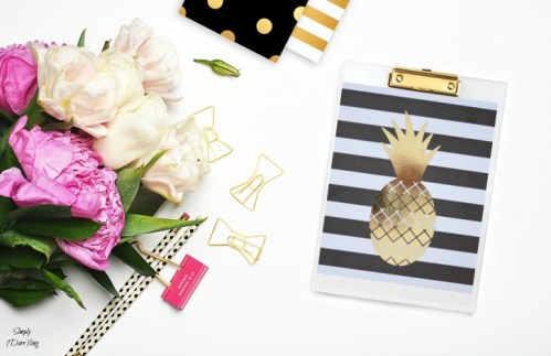Gold foil pineapple print home decor, Simply Darrling