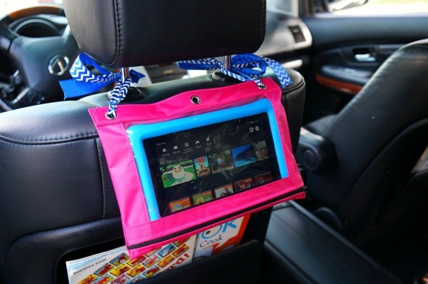 Entertain the kids on road trips with this easy DIY tablet holder for the car headrest