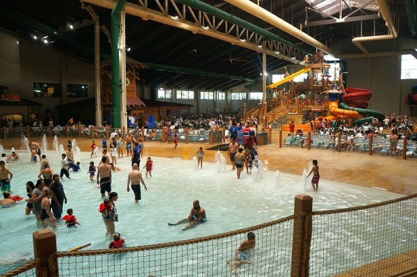 Wave pool and kids play Fort Mackenzie at Great Wolf Lodge in Garden Grove, California