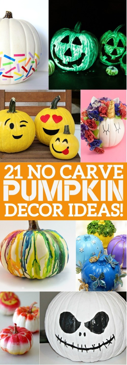 21 No Carve Pumpkin Decorating Ideas - you'll love these ways to decorate pumpkins without carving this Halloween! | no carve pumpkin ideas | no carve pumpkin ideas for toddlers | creative pumpkin decorating ideas | pumpkin painting ideas | pumpkin decorating without carving | honeyandlime.co
