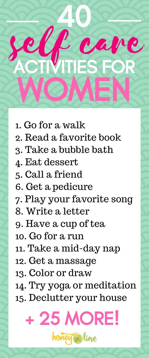40 Daily Self Care Ideas For Women - This Self Care Activities List Is Fabulous