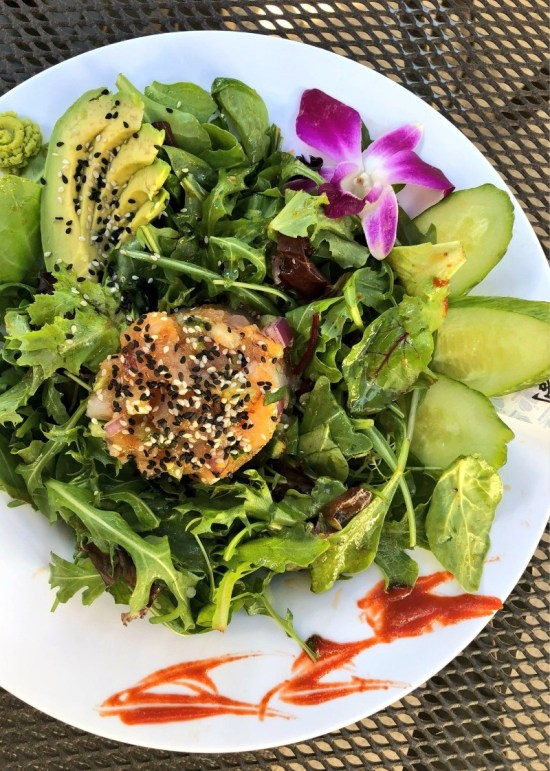 Healthy ahi tuna salad at the Ivy Kitchen Glen Ivy Hot Springs Spa in Corona California