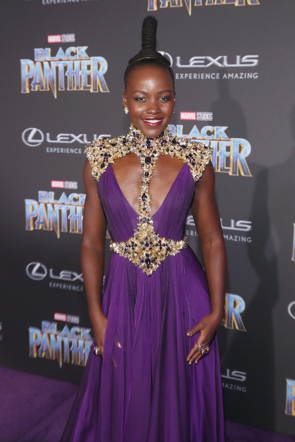 Actor Lupita Nyong'o at Marvel BLACK PANTHER premiere in Los Angeles, CA