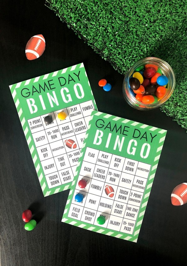 Game day bingo - Free printable football themed bingo cards for game day