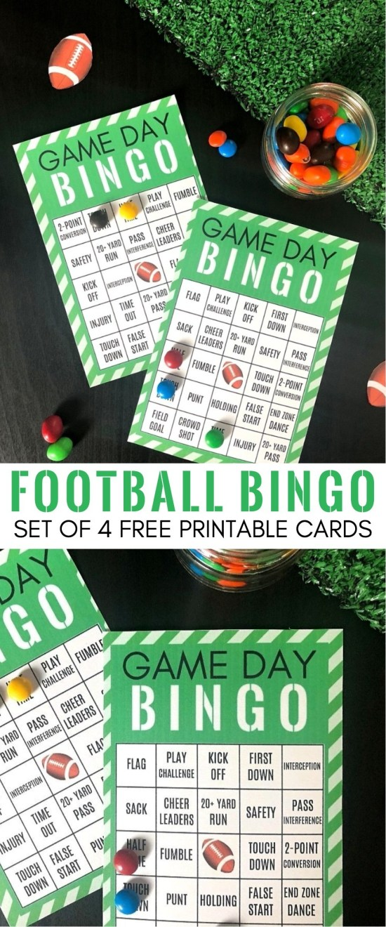 Game Day Party Ideas_ Free Printable Football Bingo Cards - Set of 4 | football bingo cards free | football bingo cards to print | super bowl bingo cards | game day bingo | how to play football bingo | football themed bingo cards | football party bingo game | honeyandlime.co