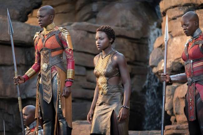 Marvel Black Panther movie still, Lupita Nyong'o, Danai Gurira, Florence Kasumba