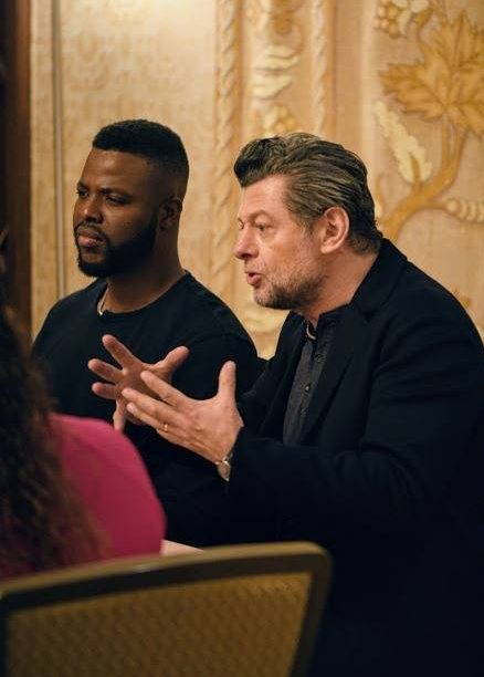 Black Panther characters Andy Serkis is Klaw and Winston Duke is M'Baku, pictured at the press conference interviews