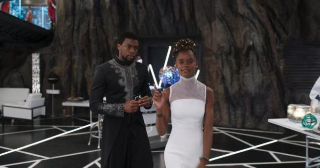 Black Panther T'Challa Chadwick Boseman and Shuri Leitita Wright