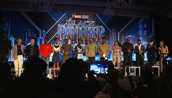 Black Panther cast at the press conference, Los Angeles CA