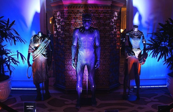Black Panther costumes on display at the movie press conference