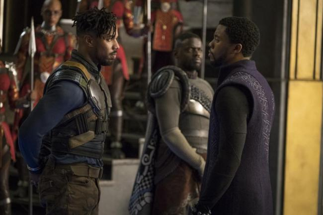 Black Panther movie Michael B Jordan, Chadwick Boseman scene