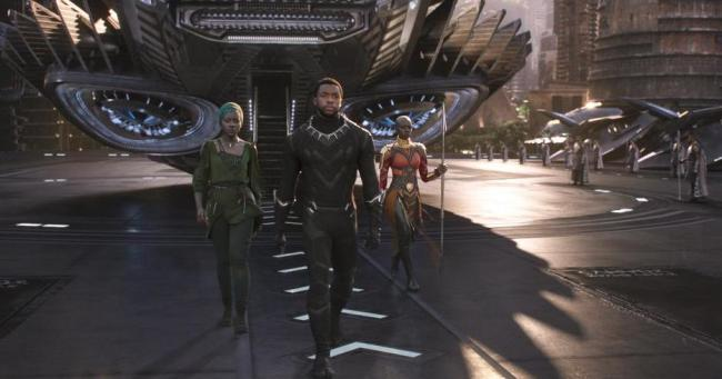 Black Panther movie set still, Chadwick Boseman, Lupita Nyong'o, Danai Gurira