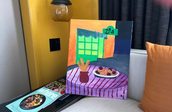 Italian restaurant painting from Paint and Sip in LA
