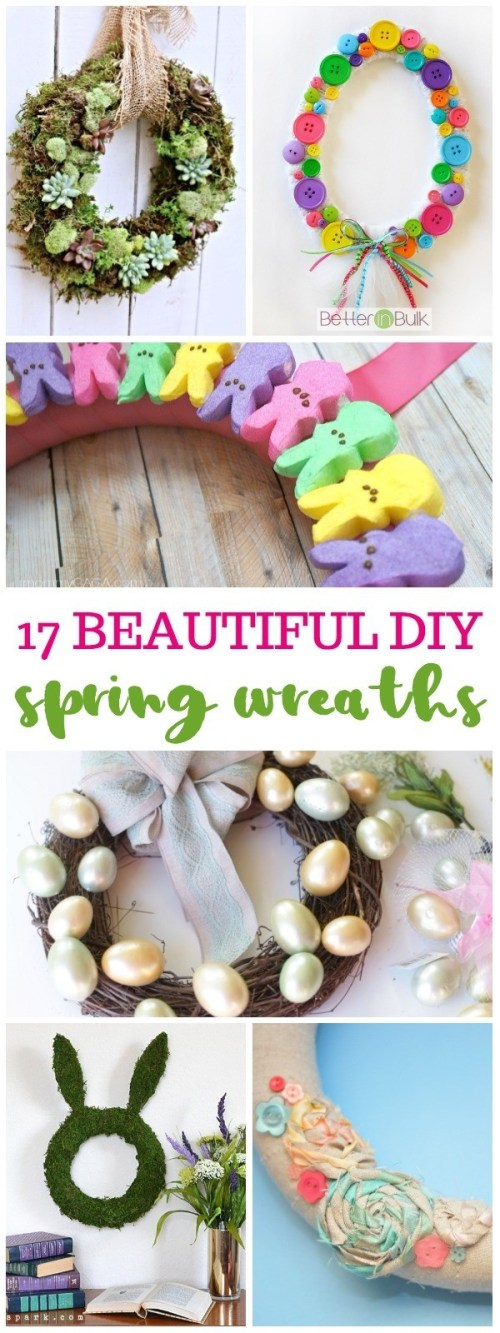 17 Beautiful DIY Spring Wreaths For Your Front Door - So Easy To Make! spring wreath diy | spring wreath for front door | spring wreath ideas | easter wreath diy | dollar store wreath | honeyandlime.co