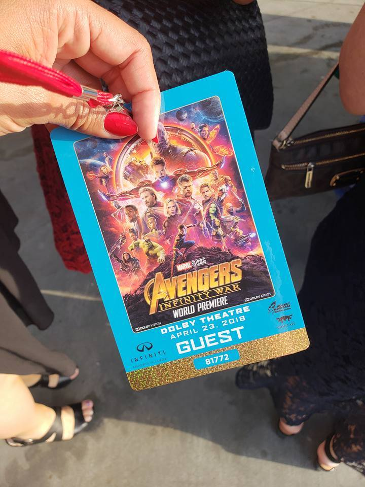 Avengers Infinity War movie premiere badge
