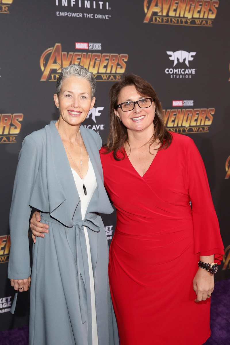 HOLLYWOOD, CA - APRIL 23: Actor Imelda Corcoran (L) and executive producer Victoria Alonso attend the Los Angeles Global Premiere for Marvel Studiosí Avengers: Infinity War on April 23, 2018 in Hollywood, California. (Photo by Jesse Grant/Getty Images for Disney) *** Local Caption *** Victoria Alonso; Imelda Corcoran