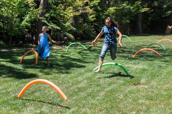 Jumbo Outdoor game ideas - Pool noodle Olympic hurdles