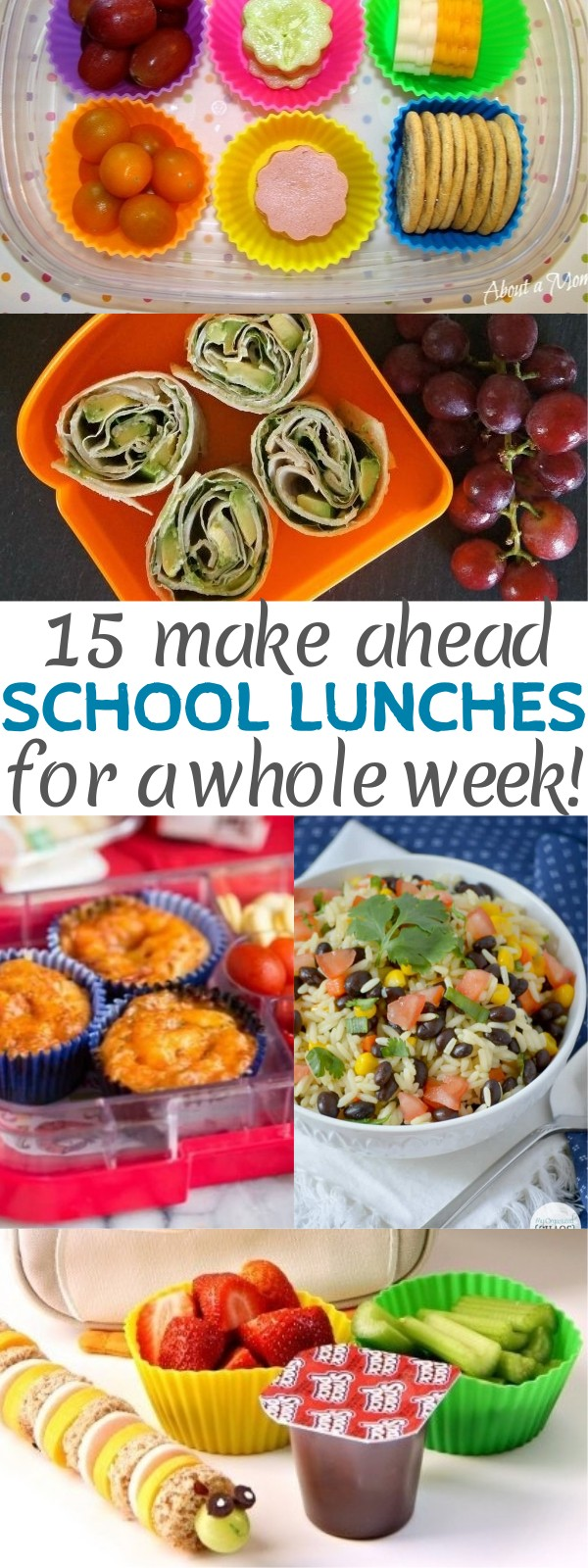 15 Easy Kids Make Ahead Lunches For School That Will Last The Whole Week - pre made school lunches | lunch prep for a week | kid friendly school lunch ideas | pre made lunches for the week | make ahead lunch ideas | honeyandlime.co