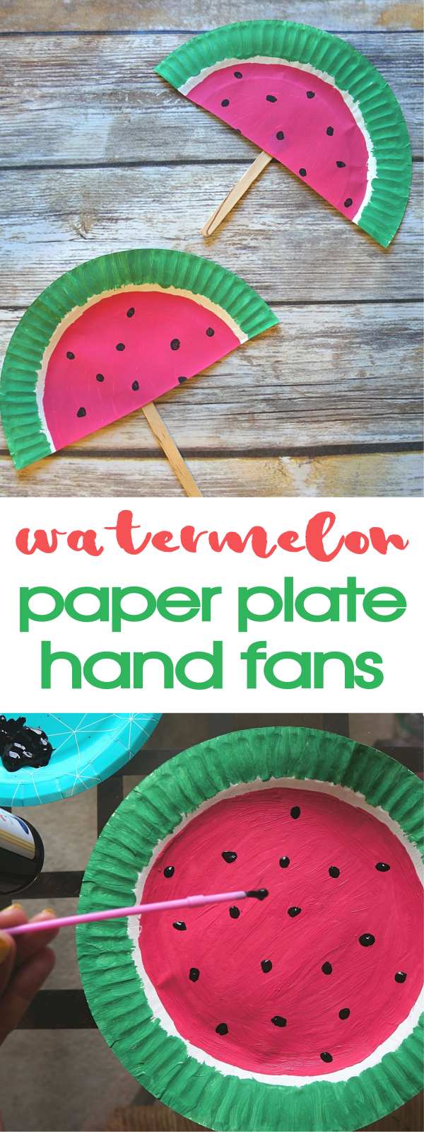 DIY Paper Plate Watermelon Fans Craft - Such A Cute Summer Activity! DIY hand fans | watermelon paper plate craft | watermelon hand fans | diy watermelon fans | watermelon paper fans | watermelon paper craft | honeyandlime.co