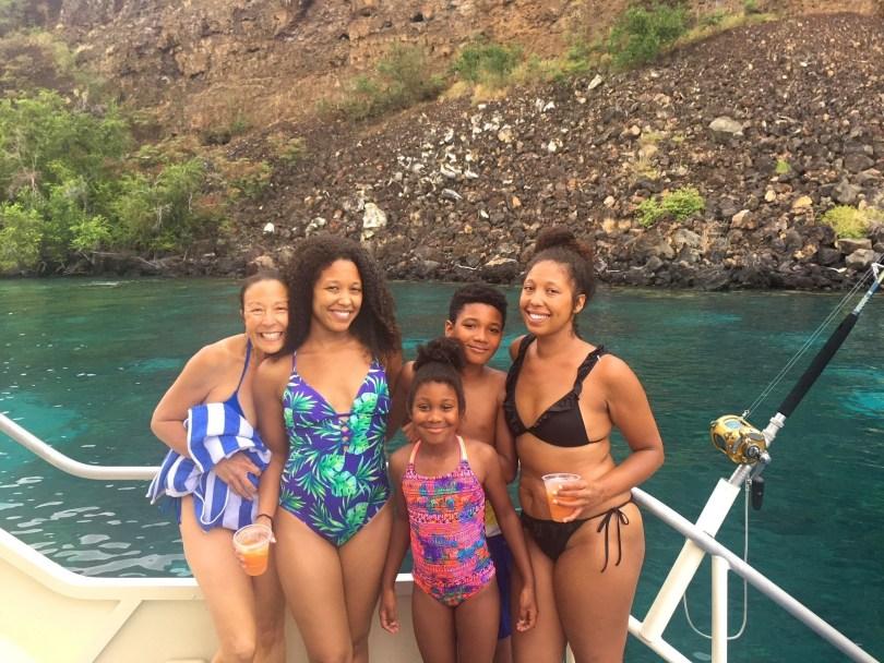 Family on a catamaran tour with Fair Wind in Kona Big Island Hawaii